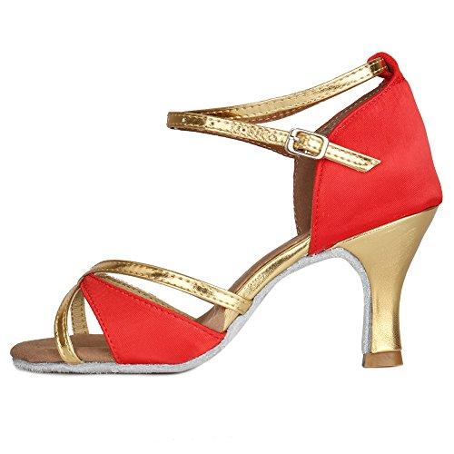 Chaussures De Danse Latine Roymall Womens Ballroom Chaussures De Performance Tango Salsa, Modèle 805 7cm Rouge