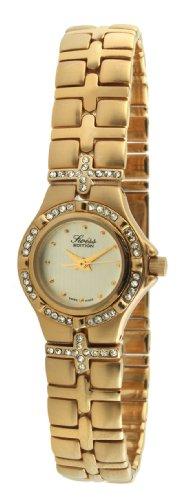 Swiss Edition Women's Luxury 23K Gold Plated Crystal Bezel & Bracelet Dress Watch SE3806-L