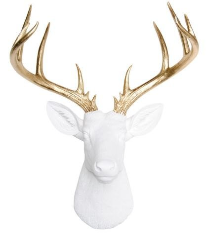 Near & Deer ND0108 Faux Taxidermy 14 Point Deer Head Wall Mount, White/Gold (Deer White Heads)