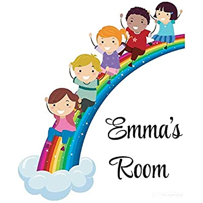 Personalized Name Vinyl Decal Sticker Custom Initial Wall Personalization Sliding on Rainbow Classroom School Preschool Daycare Nursery 20X20 Inches: Baby