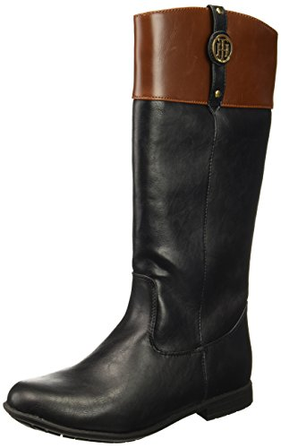 Tommy Hilfiger Kids Girls' Andrea Nameplate Boot, Black/Brown, 4 M US Big Kid