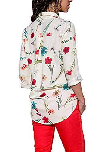 Devant Rayures Colorblock Blouse Kelice Tee Shirt boutonn Femme Blanc xTw7X61q4X