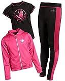 Body Glove Girl's 3-Piece Athletic Fleece Zip Up Hoodie, Leggings and Tank Top Set (Fucshsia/Black, 10)'