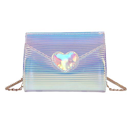 Trendy Women Lady Transparent Small Bag Heart Shape Laser Single Crossbody Shoulder Bag Phone Purse Coin Case Chain Bag (Silver)