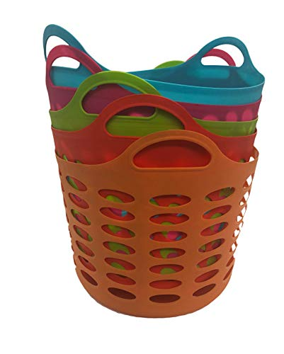 Plastic Baskets With Handles (Assorted Colors Leightweight Storage Organizer Handle Basket, Set of)