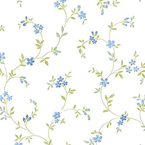 Norwall NWKE29908 Chesapeake Floral Trail Textured Wallpaper, Blue, Multi-Colored