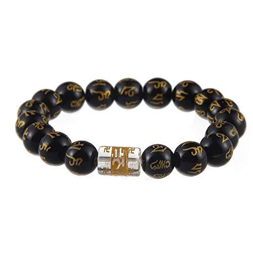 Liudaye 8mm Black Agate Bracelet Blessing Transfer Beaded Mens Gift (Bracelet Beaded Blessing)
