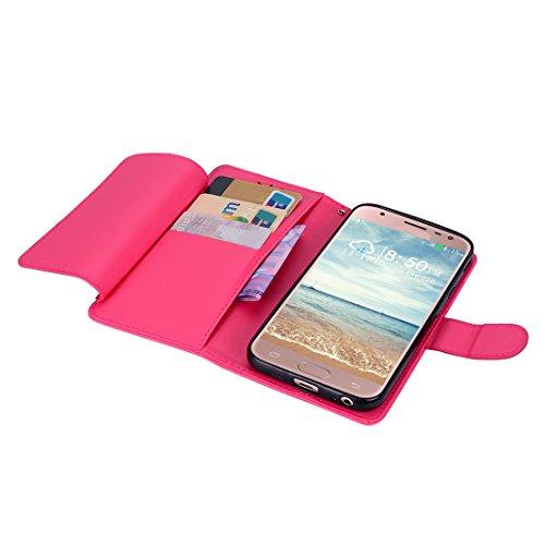 Book Hülle für Samsung Galaxy J5 2017, Moon mood® Litchi Skin Ledertasche für Samsung Galaxy J5 2017 SM-J530F Europäische Version PU Leder Folio Handyhülle Bumper Handytasche Stand Case mit Standfunkt Rose Rot