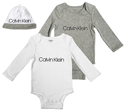 Calvin Klein Boys Baby 2 Pack Bodysuit with Hat, Girl - White, Heather Grey, 6-12 Months