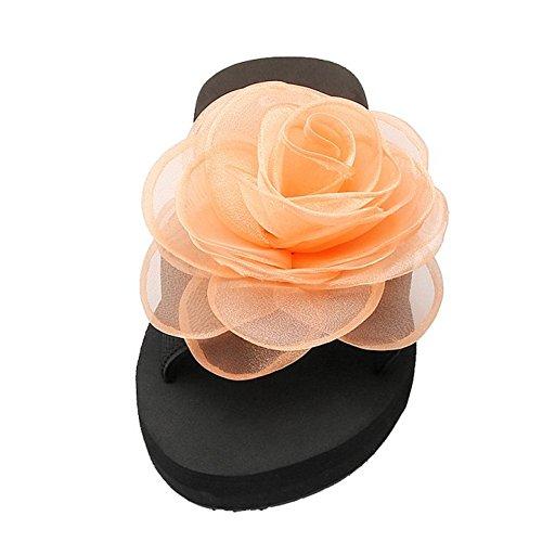 Fleur Femme Sandales Avec TAOFFEN Flat A A Ete Chaussons Enfiler Orange Plage YIXwIWdqxZ