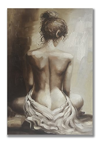 Modern Oil Paintings 100% Hand Painted Figurative Lady Canvas Wall Art Stretched and Framed Ready to Hang Home Decor (NG2, 24x36 inches)