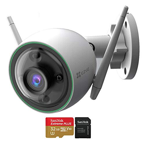 EZVIZ EZC3N3H2L28 C3N 1080p Outdoor Wi-Fi Bullet Camera with Night Vision & Built-in AI Bundle with Sandisk 32GB Extreme Plus MicroSDHC Memory Card with Adapter