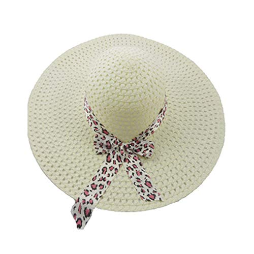 (Floppy Foldable Big Bowknot Straw Sun Hat Roll Up Wide Large Brim Summer Beach Cap,Cream)