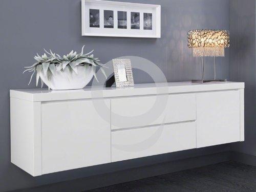 Sideboard hängend modern  Sideboard Weiß Lack hängend Hochglanz 2 Türen 2 Schubladen: Amazon ...