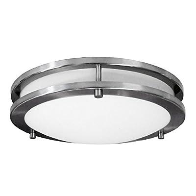 LED Decorative Brushed Nickel Round Ceiling Flush Mount Fixture 3000K