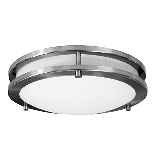 HomeSelects 6106 Flush Mount Ceiling Light, Brushed Nickel with Opal Glass Globe, 16
