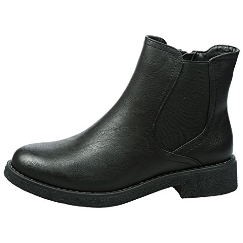 Heel Faux Fashion Style Feet Leather Chelsea Black Soraya Low Boots First Womens Ankle xXPwPqUB