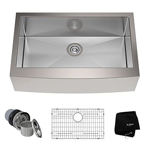 Kraus KHF200 33 33 Inch Farmhouse Apron Single Bowl 16 Gauge Stainless  Steel Kitchen Sink