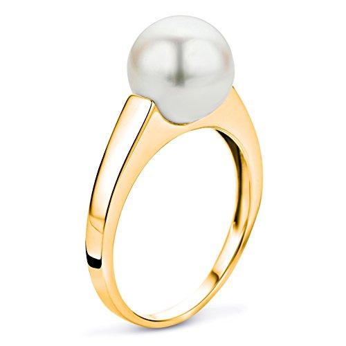 Miore - USP040RYR - Bague Femme - Or Jaune 375/1000 (9 Cts) 2.35 Gr - Perles d'eau douce - T 58 (18.5)