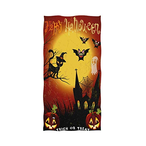 Winner Shopping Center Cartoon Halloween Black Cat Bat Full Moon Pumpkins Print Soft Highly Absorbent Large Home Decorative Hand Towels Multipurpose for Bathroom, Hotel, Gym and Spa (27.5