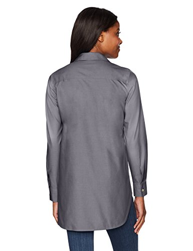 Foxcroft Women's Plus Size Vera Solid Non Iron Tunic, Charcoal, 18W