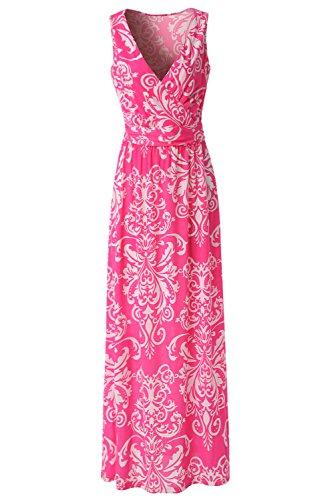 1097f306c37a Zattcas Womens V Neck Sleeveless Maxi Dress Casual Empire Floral Maxi Dress  (XX-Large, Pink White)