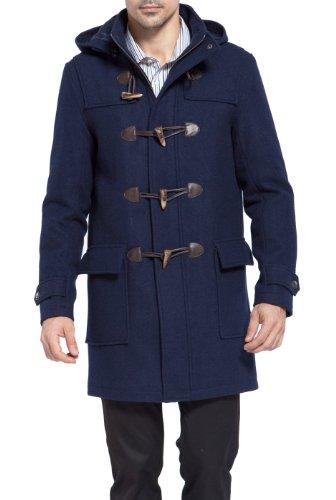 BGSD Men's Benjamin Wool Blend Classic Duffle Coat, Navy, Medium