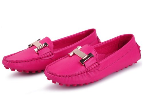 Happyshop (tm) Donna Vera Pelle Casual Fibbia Slip On Mocassini Flats Penny Shoe Sz 35-40 Freeshipping Rose Red