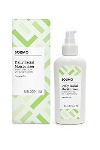- Amazon Brand - Solimo SPF 15 Daily Facial Moisturizer, Fragrance Free, Broad Spectrum Sunscreen, 4.8 Fluid Ounce