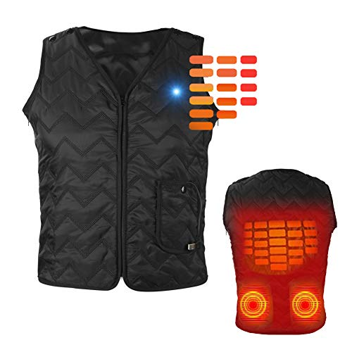 Heated Vest Heating Electric Vest USB Charging Heated Vest Cold-Proof Heating Clothes Washable (Battery Not Included)L-3XL Black