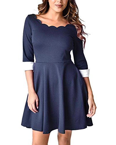 Pinup Fashion Women's Plus Size Vintage Half Sleeve Casual Cocktail Party Swing Midi Dress Blue 16W