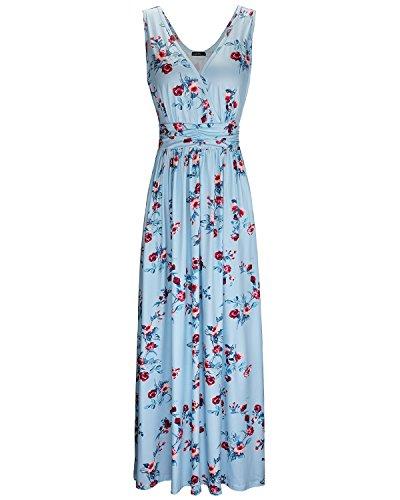 OUGES Women's V-Neck Pattern Pocket Maxi Long Dress(Floral-11,L) ()