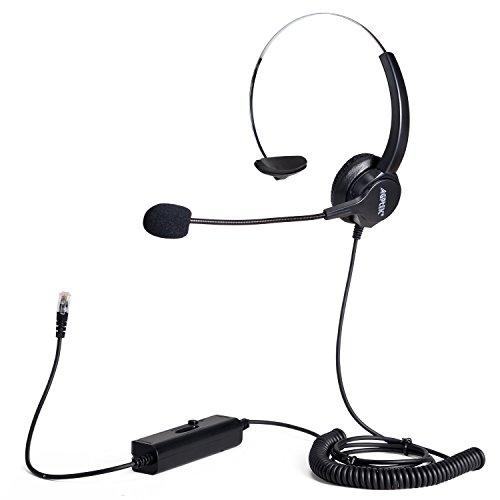 AGPtek 4-pin RJ9 Crystal Head Super Telephone Monaural Corded Headset
