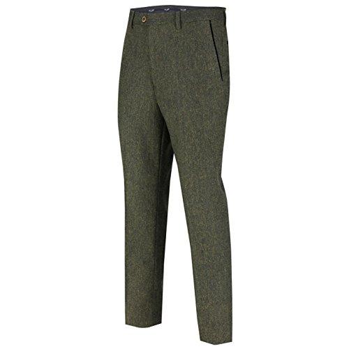 XPOSED Mens Vintage Tweed Trousers Slim Fit Smart Retro MOD Suit Pant Black Velvet Trim 4 Colours [Green,Waist (Trim Tweed Suit)