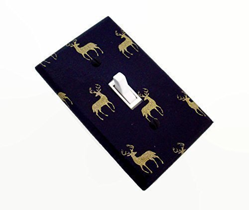 Woodland Deer Elk Light Switch Cover Navy Gold