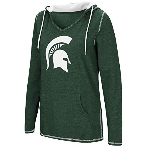 - Colosseum Women's NCAA-Scream It!- Dual Blend-Fleece V-Neck Hoodie Pullover Sweatshirt-Michigan State Spartans-Green-Small