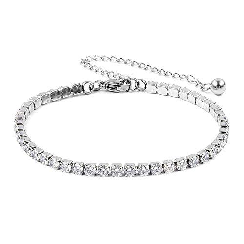(Shop LC Delivering Joy Stainless Steel Cubic Zirconia Classic CZ Tennis Bracelets for Women, 7