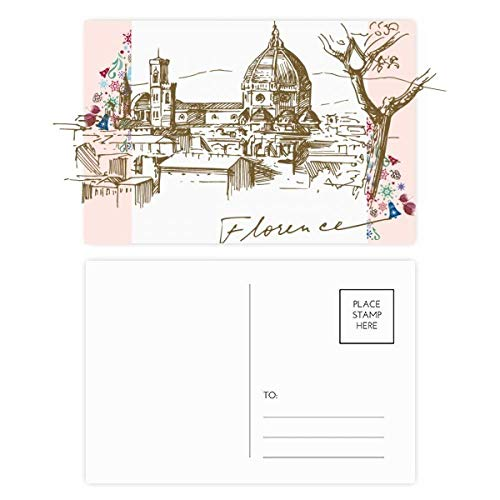 Florence Cathedral Italy Pattern Christmas Tree Postcard Thanks Card 20pcs ()