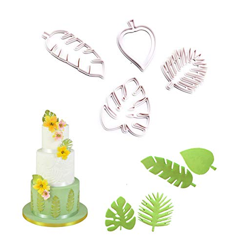 WenQin Tropical Leaf Cookie Cutters Molds, Palm Leaves Pineapple Coconut Fondant Cutters Set Cake Decoration Molds for Birthday, Wedding Party, Luau Cake Decorating Supplies