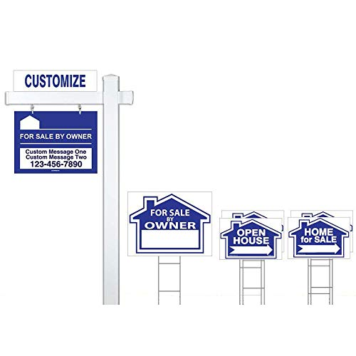 (Deluxe Customized for Sale by Owner 7 Sign Bundle with Real Estate Post & H-Stakes - Open House and Home for Sale with Directional Arrows - Personalized Rider Sign for Yard Post)