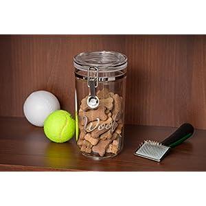 IRIS Acrylic Woof Pet Treat Jar, Silver