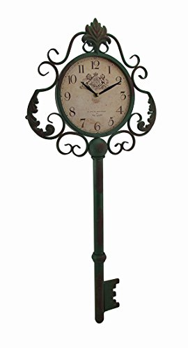 Cheap Zeckos Metal Wall Clocks Green Antique Key Shaped Vintage Finish Metal Wall Clock 13.5 X 31.5 X 2 Inches Green