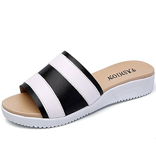 T-JULY Womens Ladies Fashion Dermis Platform Girls Flat Sandals Slip On Dressy Anti-Slip Breathable Summer Beach Slippers from T-JULY