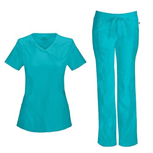 CHEROKEE Infinity Women's Scrub Set - 2625A Mock Wrap Top & 1123A Low Rise Straight Leg Drawstring Pants