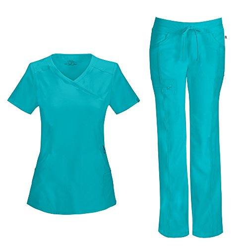 (Cherokee Infinity Women's Mock Wrap Scrub Top 2625A & Low Rise Drawstring Scrub Pants 1123A Scrubs Set (Certainty Antimicrobial) (Teal Blue - XX-Small/XXSmall Petite))