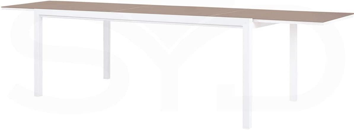 ArtAluminio Mesa de Comedor Extensible. Aluminio de Exterior Primera Calidad y Cristal Templado Taupé 200/300x100x74cm