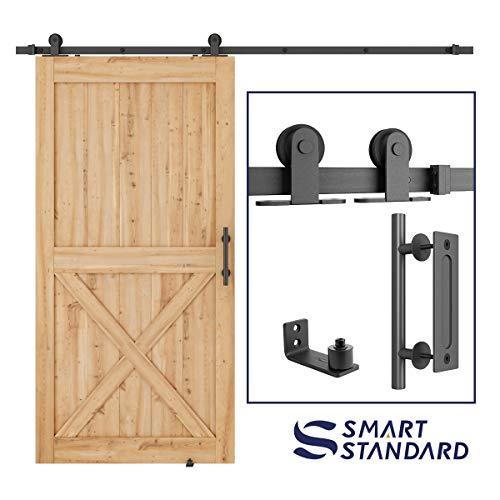 Floor Rail - SmartStandard 8ft Heavy Duty Sliding Barn Door Hardware Kit, 8ft Single Rail, Black, (Whole Set Includes 1x Pull Handle Set & 1x Floor Guide & 1x Latch Lock) Fit 48