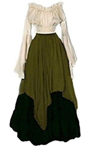 Irish Medieval Clothing - Alion Women Renaissance Medieval Irish Costume Over Dress Medieval Dress Renaissance Gothic Dress Green S
