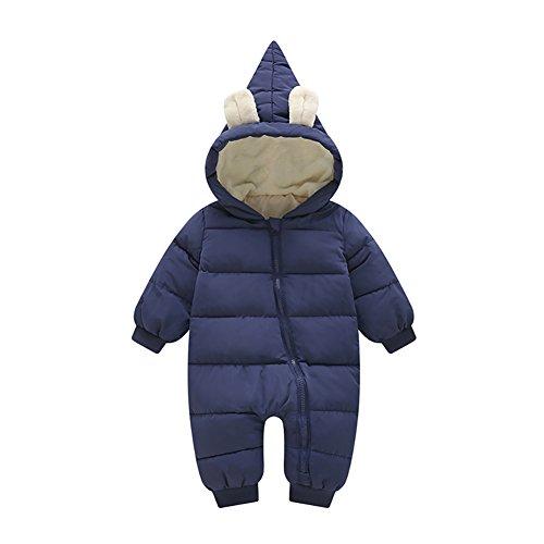 Infant Down Bunting (Evey & Jaxten Unisex Baby Winter Bunny Warm Down Puffer Romper Jumpsuit Snowsuit Pram Bunting (Dark Blue, 12-18M 90CM))
