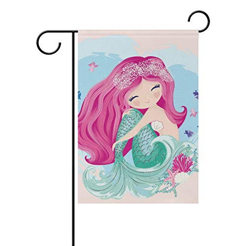 Jojogood Cute Mermaid Garden Flag 12″X18″ Double Sided Yard Decoration Polyester Outdoor Flag Home Party